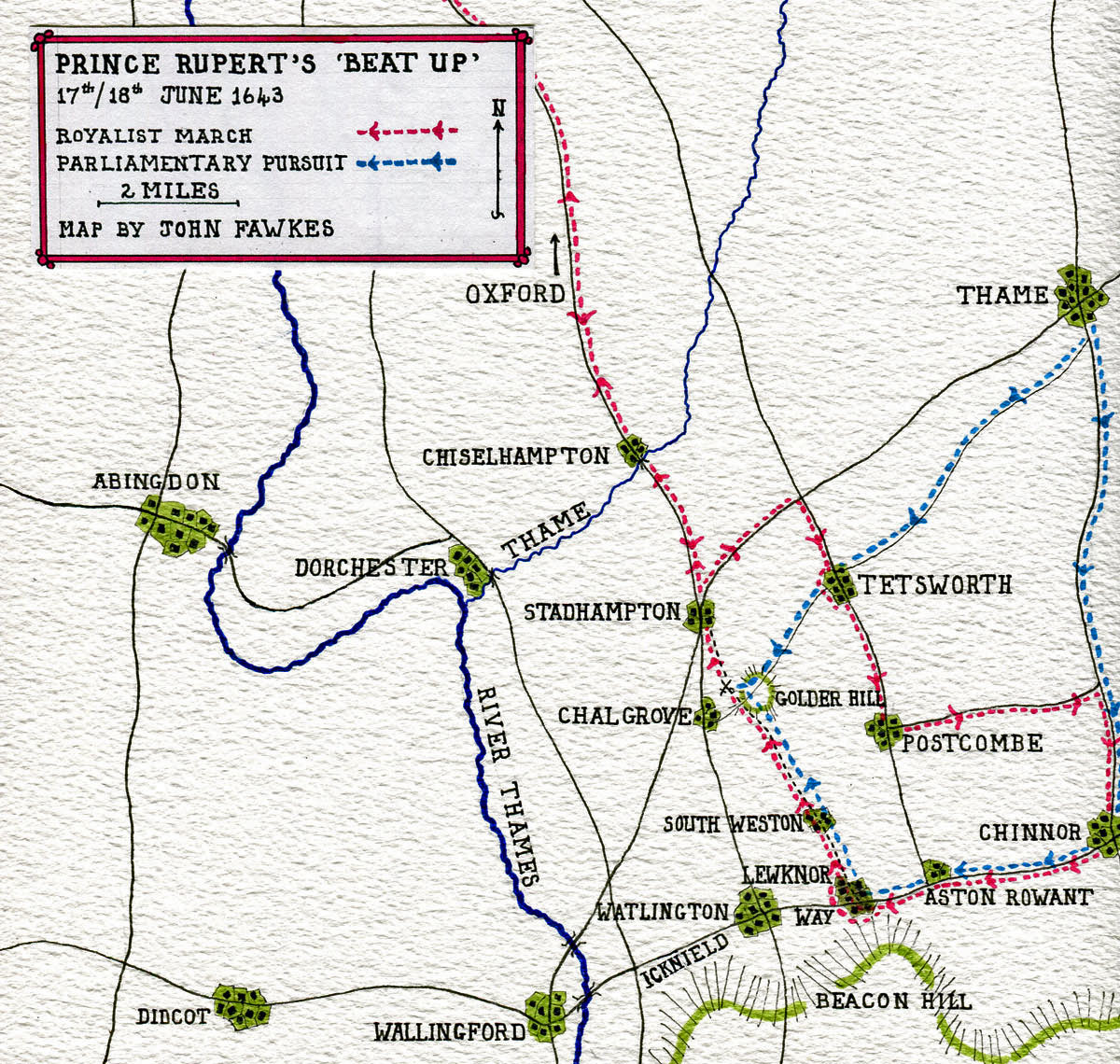 Map of Prince Rupert's march on 17th and 18th June 1643: Battle of Chalgrove 18th June 1643 in the English Civil War: map by John Fawkes