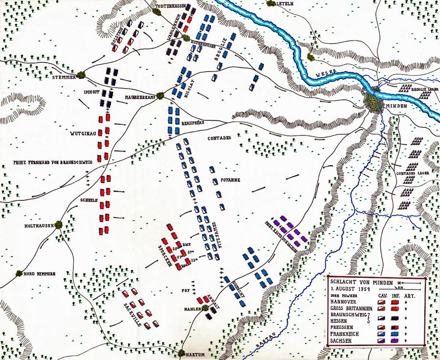 Map of the Battle of Minden on 1st August 1759 in the Seven Years War: map by John Fawkes
