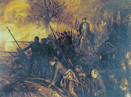 Frederick the Great at the Battle of Hochkirch 14th October 1758 in the Seven Years War: picture by Adolph Menzel