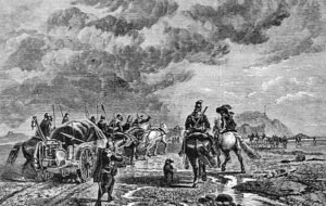 Military train: Battle of Chalgrove 18th June 1643 in the English Civil War: picture by Richard Beavis