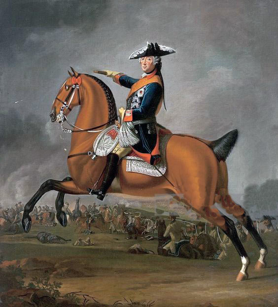 Frederick II, King in Prussia, 'Frederick the Great':Battle of Burkersdorf on 21st July 1762 in the Seven Years War: picture by David Morier