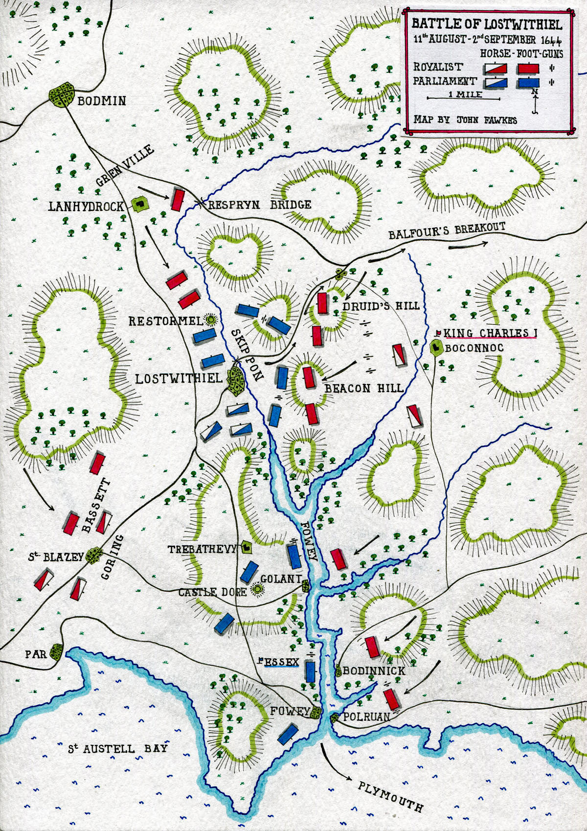 Map of the Battle of Lostwithiel 11th August to 2nd September 1644 in the English Civil War: map by John Fawkes
