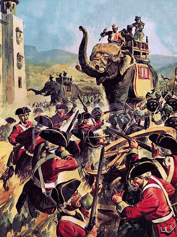 Elephants advancing on the gates of Arcot Fort: Siege of Arcot 31st August to 15th November 1751 in the War in India
