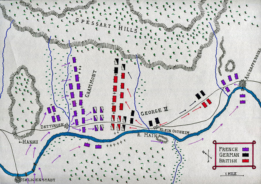 Map of the Battle of Dettingen fought on 16th June 1743 in the War of the Austrian Succession: map by John Fawkes