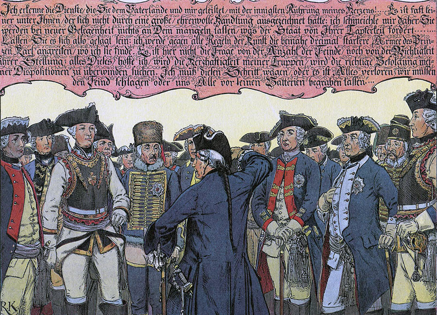Parchwitz Address by Frederick the Great to his generals before the march to the Battle of Leuthen 5th December 1757 in the Seven Years War: picture by Richard Knötel