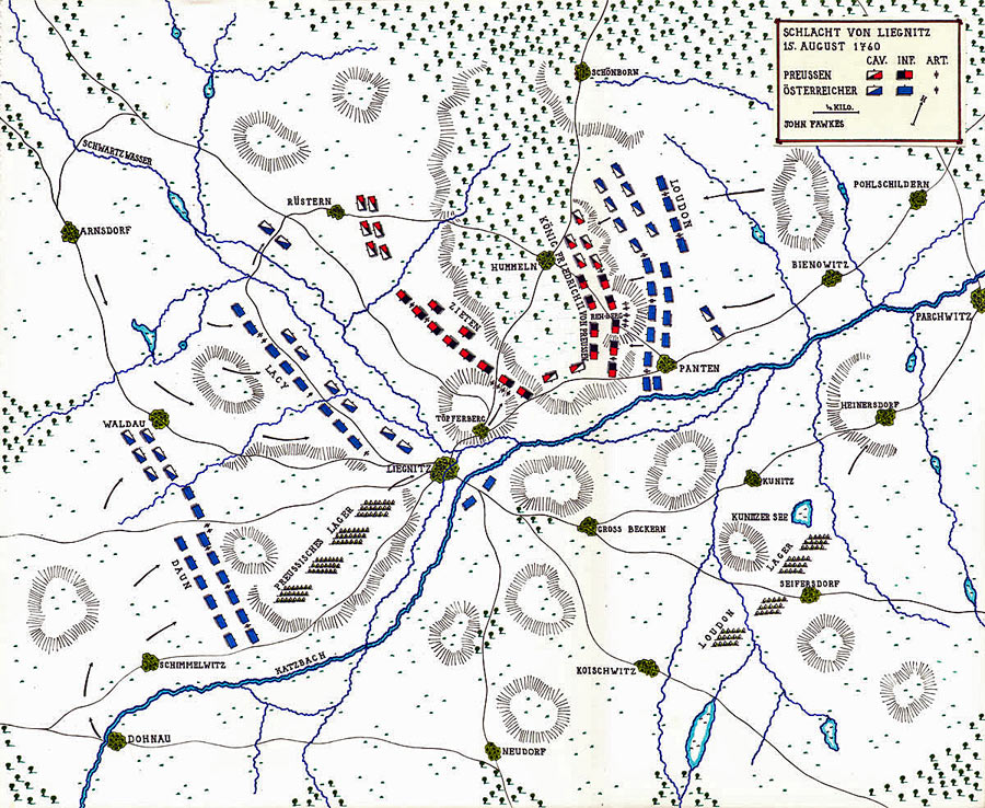 Map of the Battle of Liegnitz 15th August 1760 in the Seven Years War: map by John Fawkes