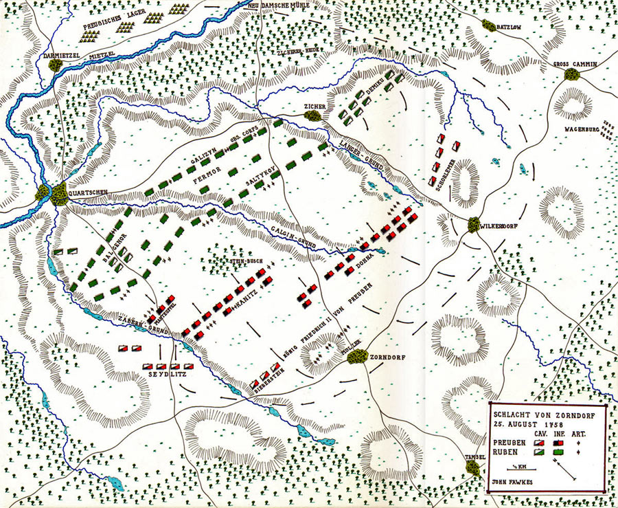 Map of the Battle of Zorndorf 25th August 1758 in the Seven Years War: map by John Fawkes