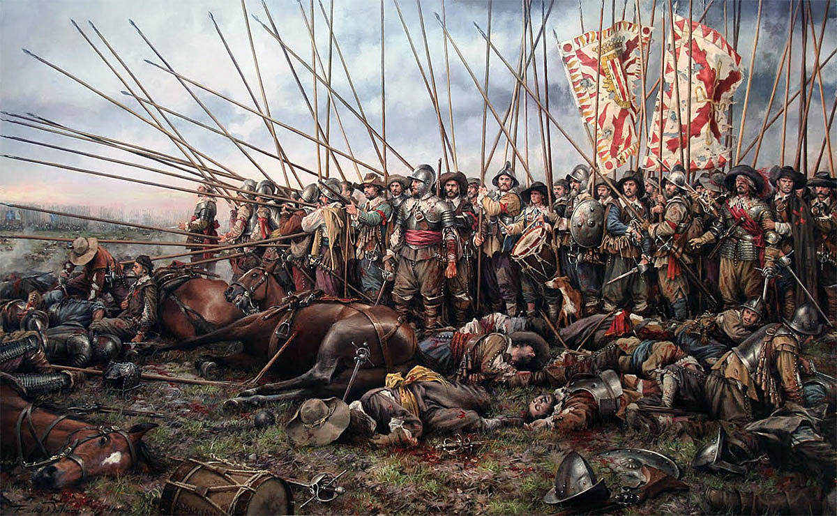 Pikemen at the Battle of Rocroi in France, in 1643: picture by Sebastian Vrancx. This might well have been a picture of the Battle of Edgehill, fought in the previous year on 23rd October 1642 in the English Civil War
