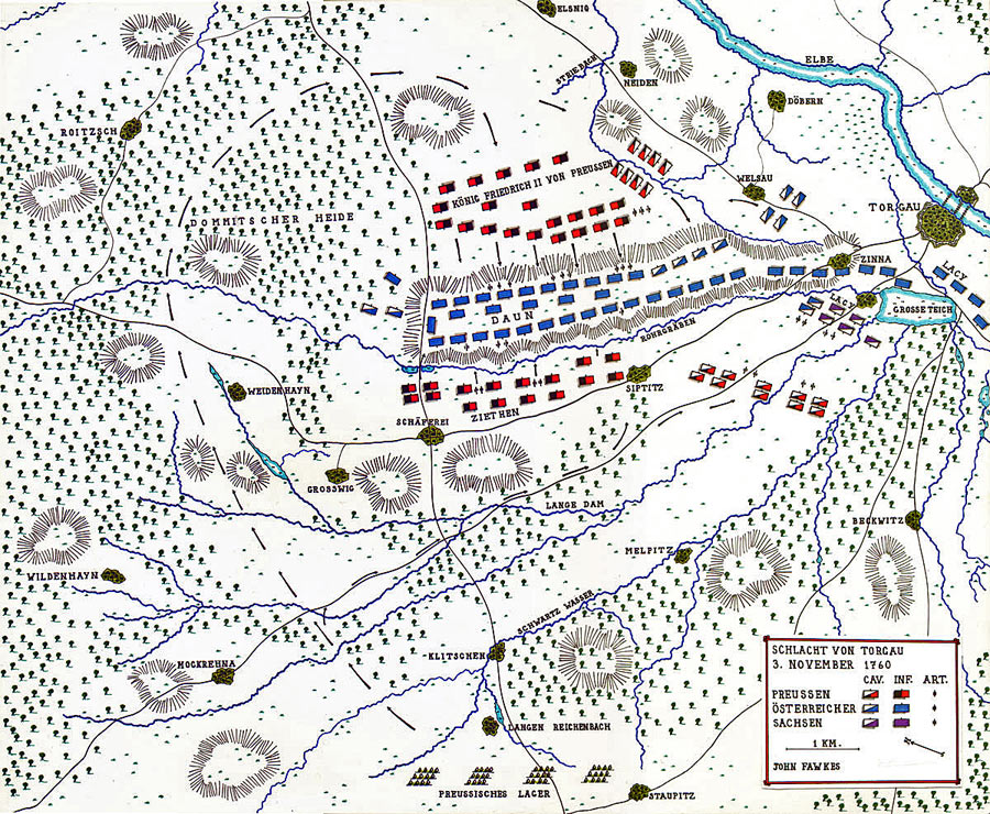 Map of the Battle of Torgau 3rd November 1760 in the Seven Years War: map by by John Fawkes