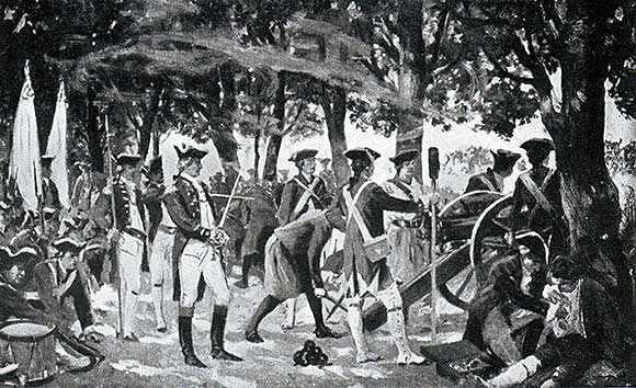 Clive's troops in the mango grove at the Battle of Plassey on 23rd June 1757 in the Anglo-French Wars in India