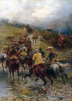On the march: Battle of Chalgrove 18th June 1643 in the English Civil War