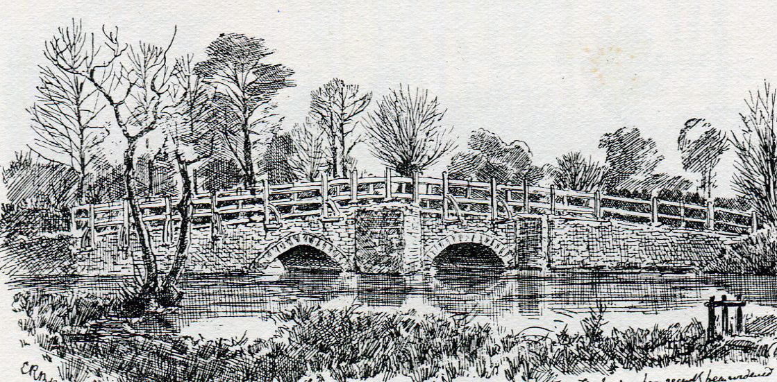 Cropredy Bridge: Battle of Cropredy Bridge on 29th June 1644 in the English Civil War: drawing by C.R.B. Barrett