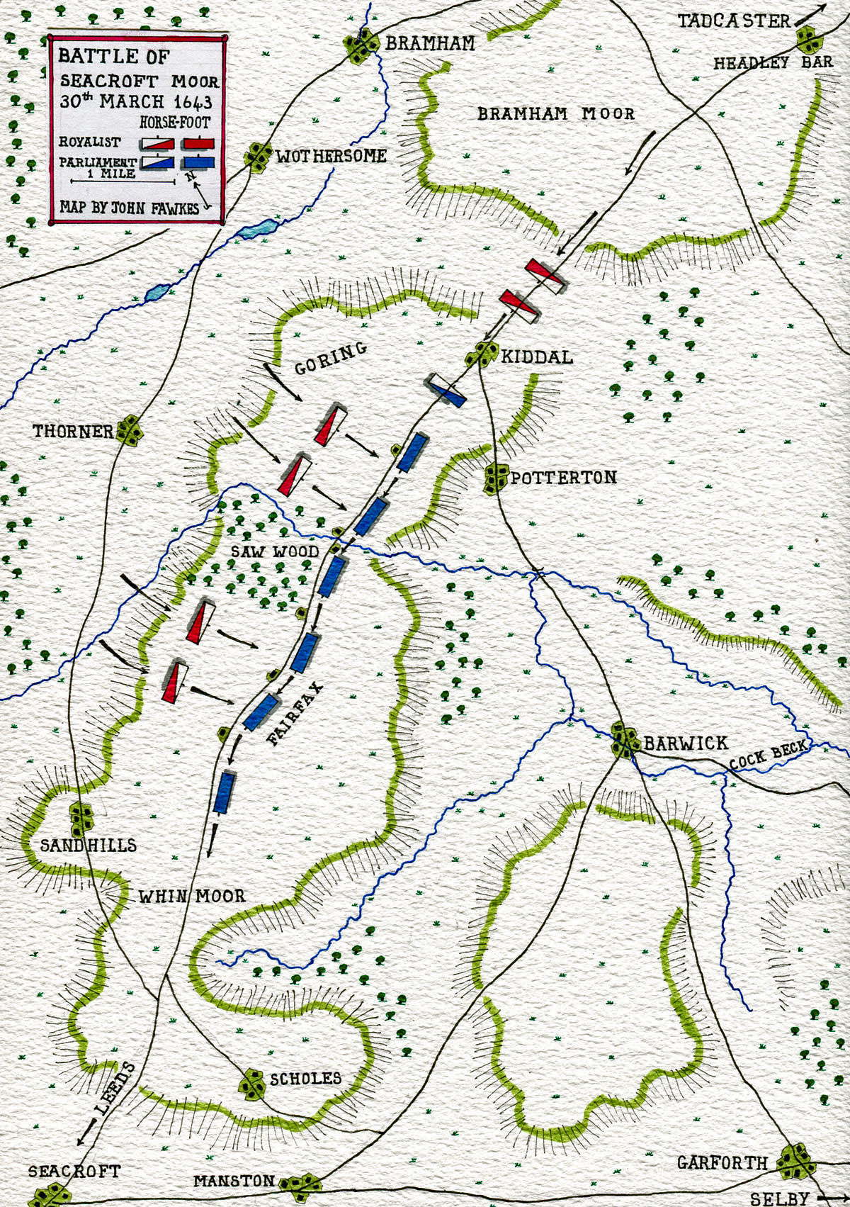 Map of the Battle of Seacroft Moor 30th March 1643 in the English Civil War: map by John Fawkes
