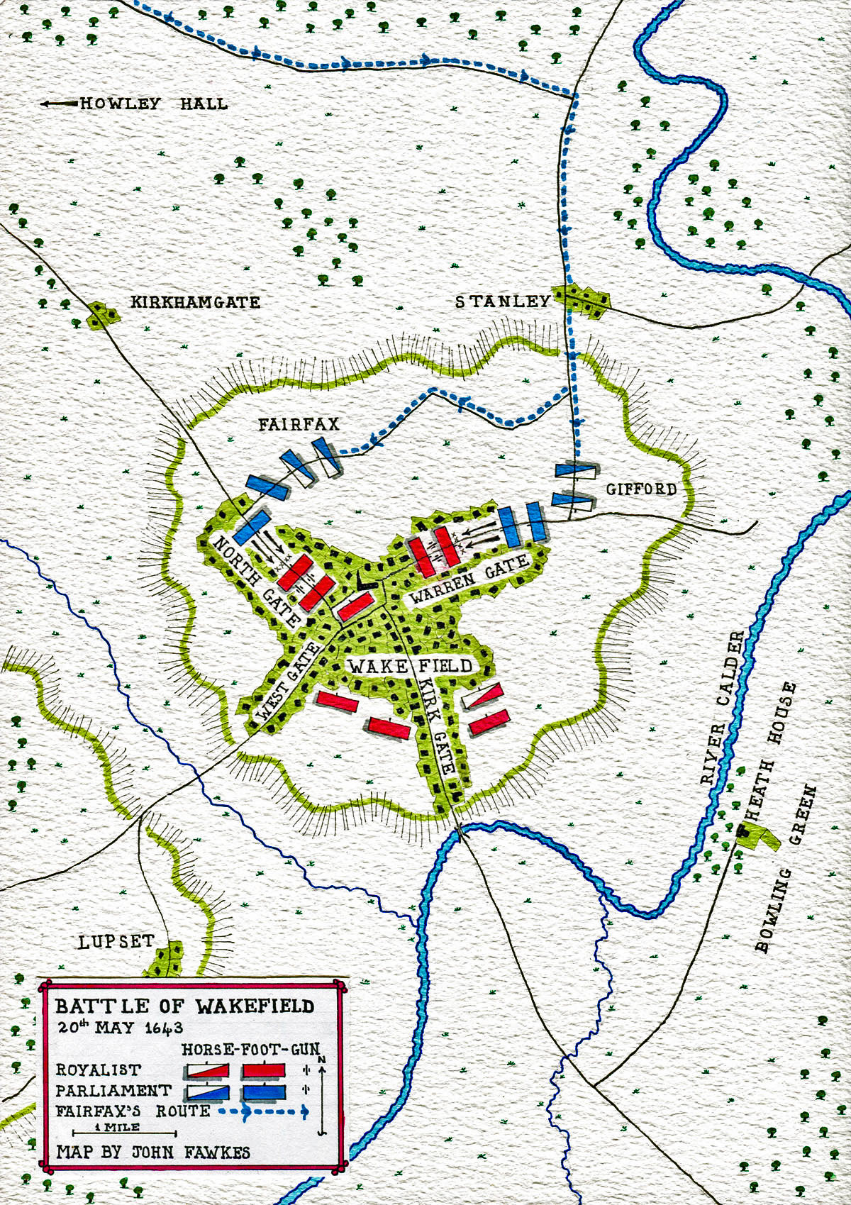 Map of Battle of Wakefield 20th May 1643 in the English Civil War: map by John Fawkes
