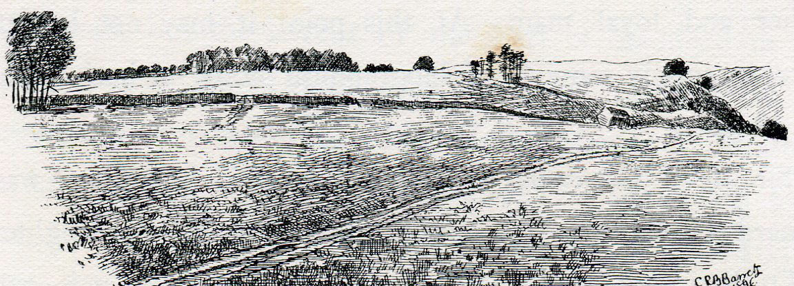 Top of Lansdown Hill, from behind the Parliamentary position at the Battle of Lansdown Hill on 5th July 1643 during the English Civil War: drawing by C.R.B. Barrett