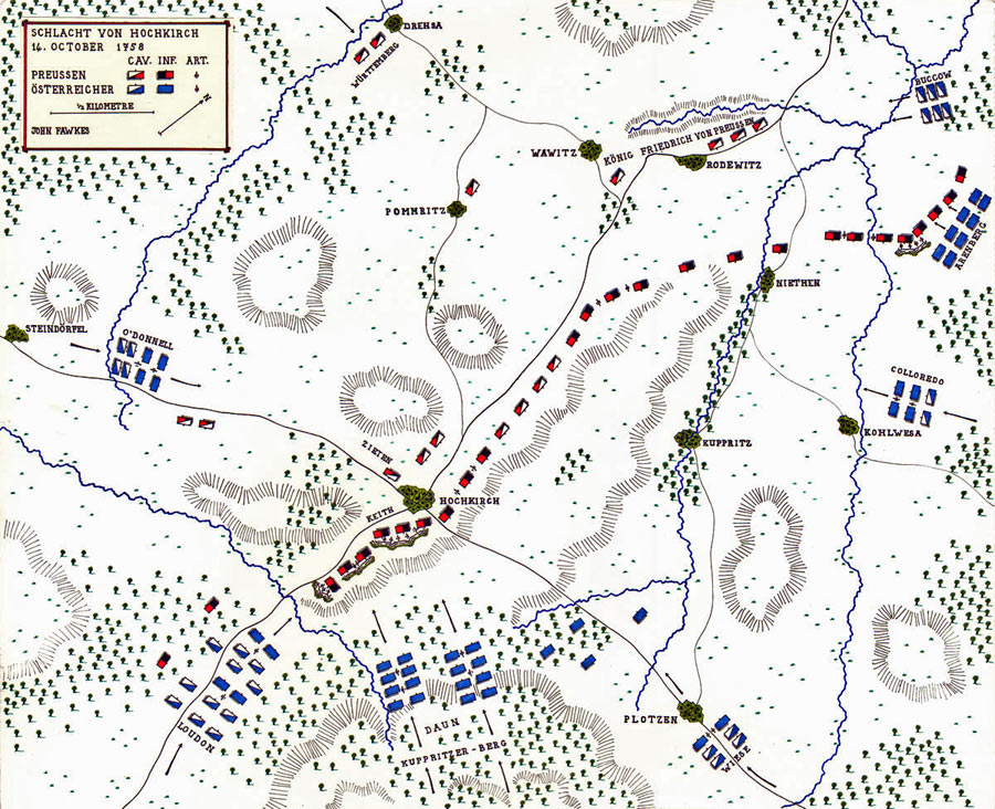Map of the Battle of Hochkirch 14th October 1758 in the Seven Years War: map by John Fawkes