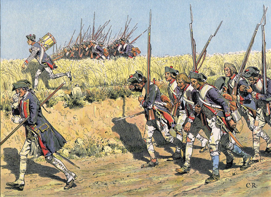 Prussian infantry advancing to meet the Russian Army before the Battle of Zorndorf 25th August 1758 in the Seven Years War: picture by Carl Röhling
