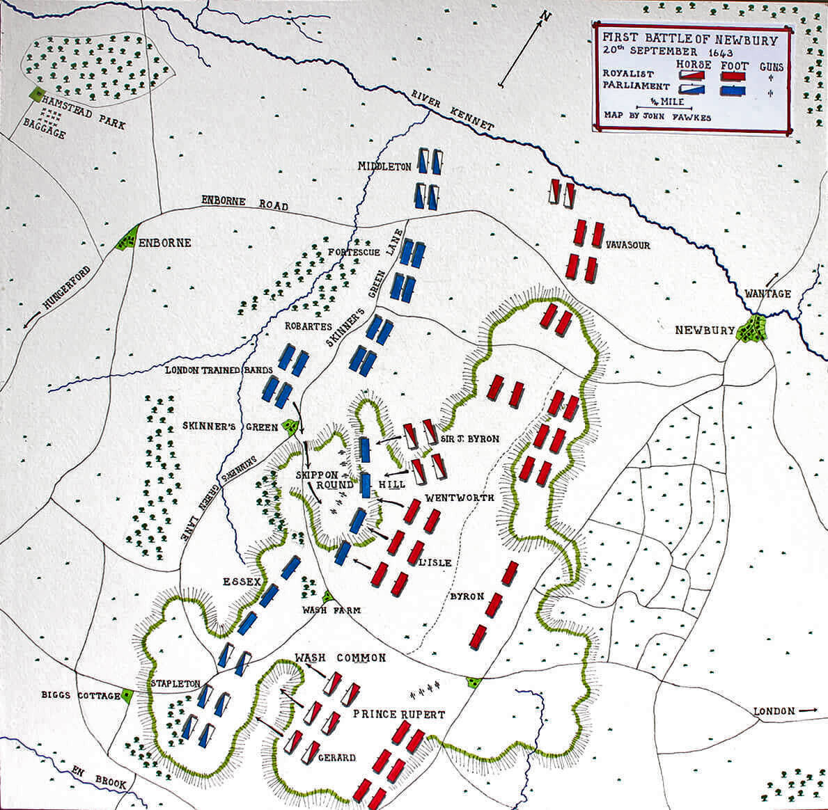 Map of the First Battle of Newbury 20th September 1643 in the English Civil War: map by John Fawkes