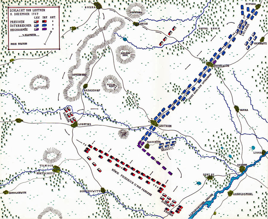 Map of the Battle of Leuthen 5th December 1757 in the Seven Years War: map by John Fawkes