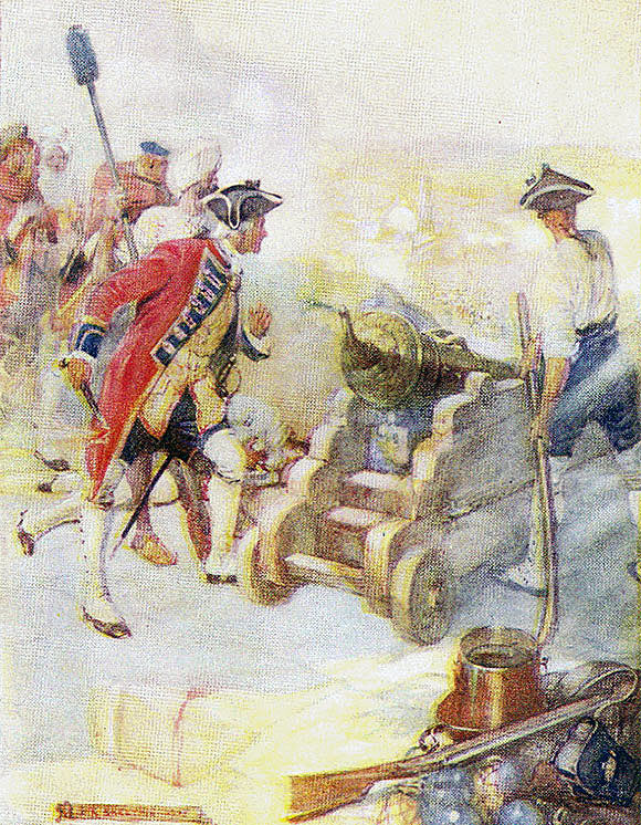 Robert Clive fires a cannon in the Siege of Arcot 31st August to 15th November 1751 in the War in India