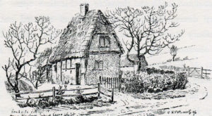 Bigg's Cottage, where the Earl of Essex spent the night before the First Battle of Newbury on 20th September 1643 in the English Civil War: drawing by C.R.B. Barrett