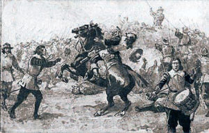 Death of Sir Bevil Grenville at the Battle of Lansdown Hill on 5th July 1643 in the English Civil War