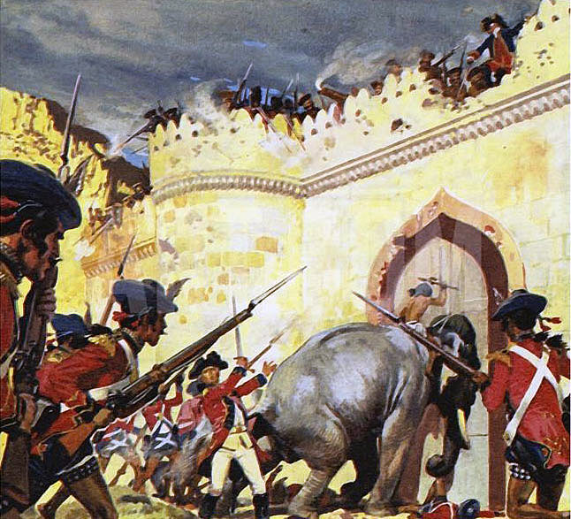 Elephants battering at the gates of Arcot Fort: Siege of Arcot 31st August to 15th November 1751 in the War in India
