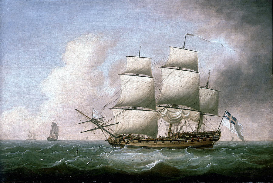 British frigate in the Seven Years War: Capture of Manilla 6th October 1762 in the Seven Years War: picture by Dominic Serres