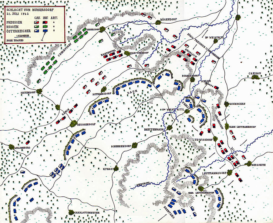 Map of the Battle of Burkersdorf 21st July 1760 in the Seven Years War: map by John Fawkes