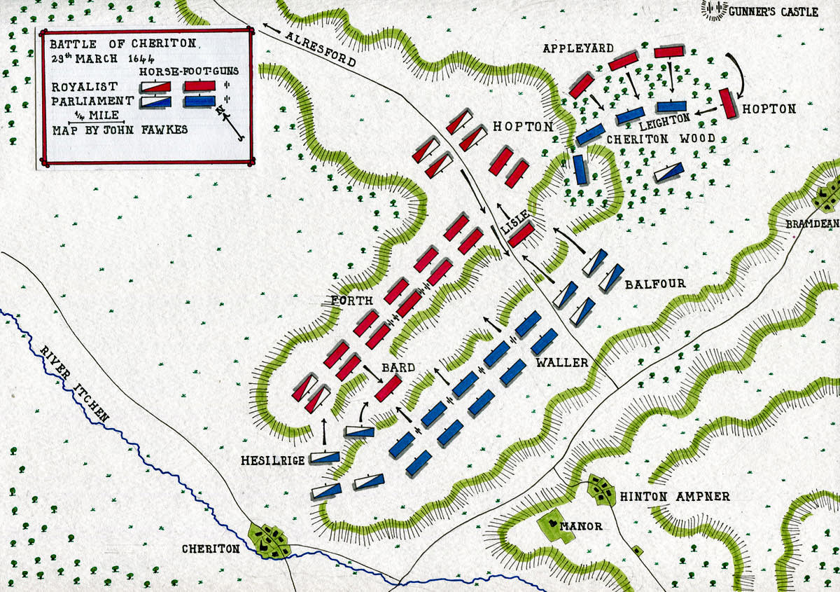 Battle of Cheriton 29th March 1644 in the English Civil War: map by John Fawkes