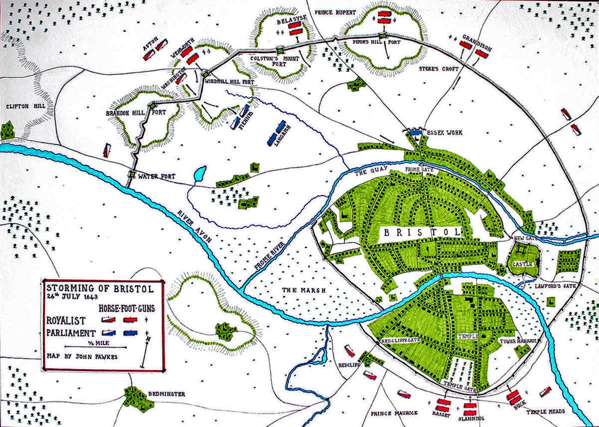 Map of the Storming of Bristol by the Royalist Army of Prince Rupert on 26th July 1643 during the English Civil War: map by John Fawkes