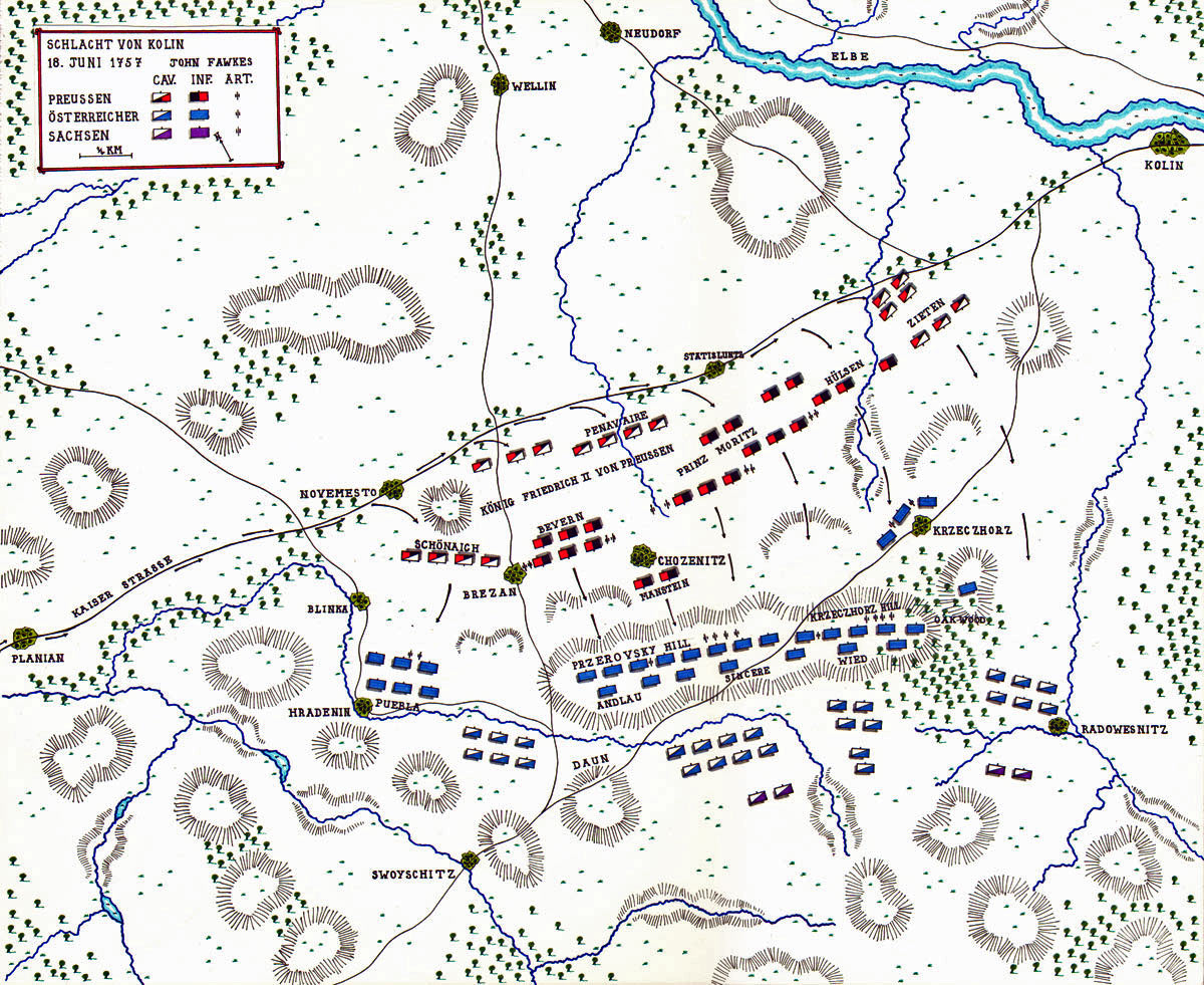 Map of the Battle of Kolin 18th June 1757 in the Seven Year War: map by John Fawkes