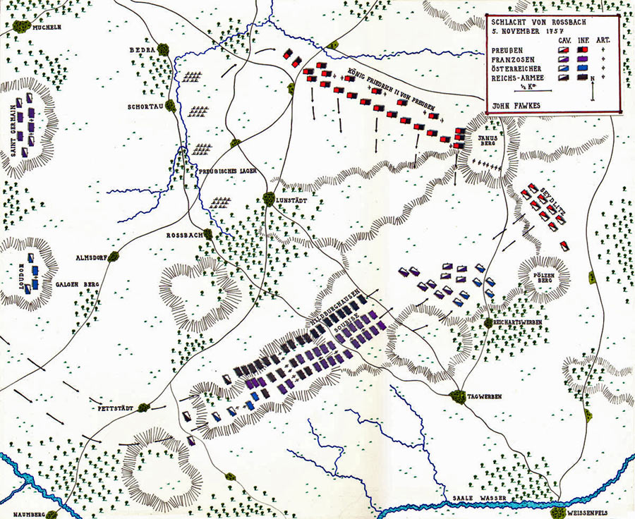 Map of the Battle of Rossbach 5th November 1757 in the Seven Years War; map by John Fawkes