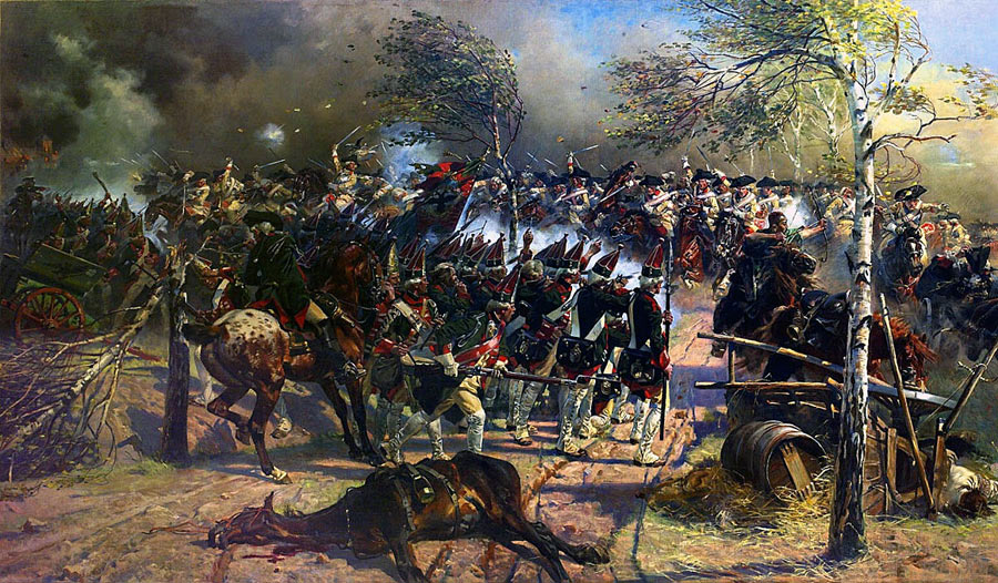 Charge of the Prussian Cuirassiers led by Seydlitz at the Battle of Zorndorf 25th August 1758 in the Seven Years War: picture by Carl Röhling