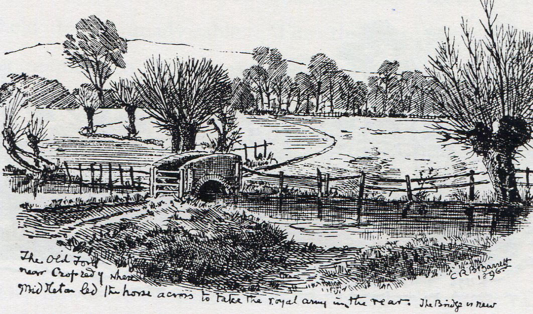 Old Ford at Cropredy Bridge: Battle of Cropredy Bridge on 29th June 1644 in the English Civil War: drawing by C.R.B. Barrett