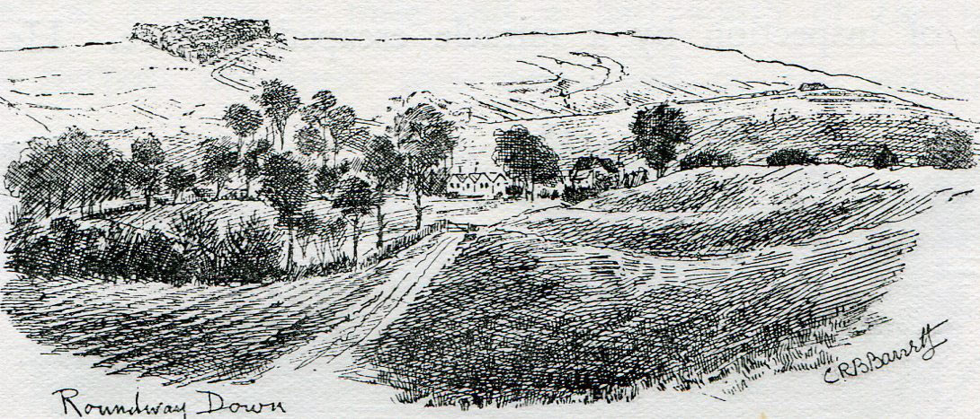 Scene of the Battle of Roundway Down on 13th July 1643 during the English Civil War: drawing by C.R.B. Barrett