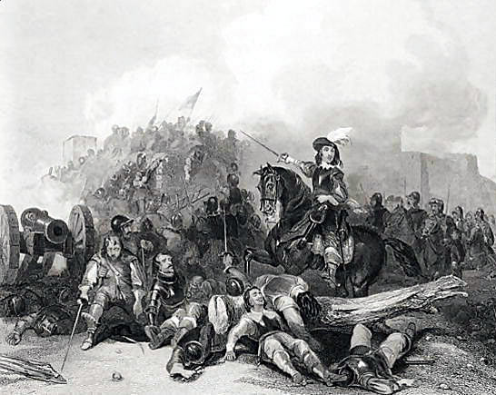 Prince Rupert at the Storming of Bristol on 26th July 1643 in the English Civil War