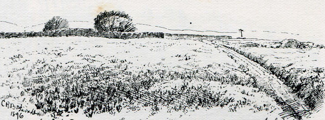 Top of Lansdown Hill from the Royalist overnight position at the Battle of Lansdown Hill on 5th July 1643 during the English Civil War: drawing by C.R.B. Barrett