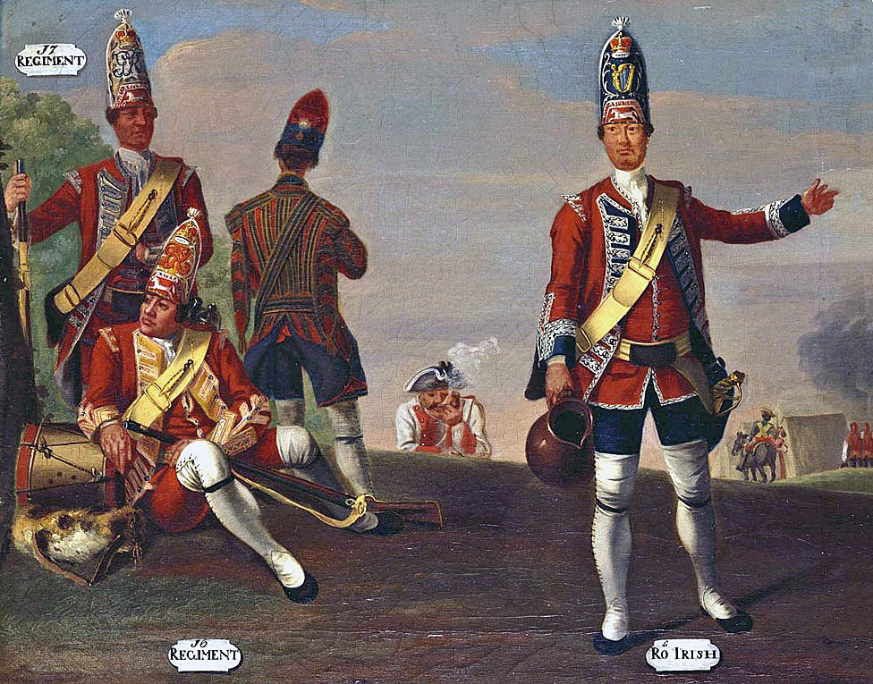 Grenadiers of English regiments in the Seven Years War: picture by David Morier