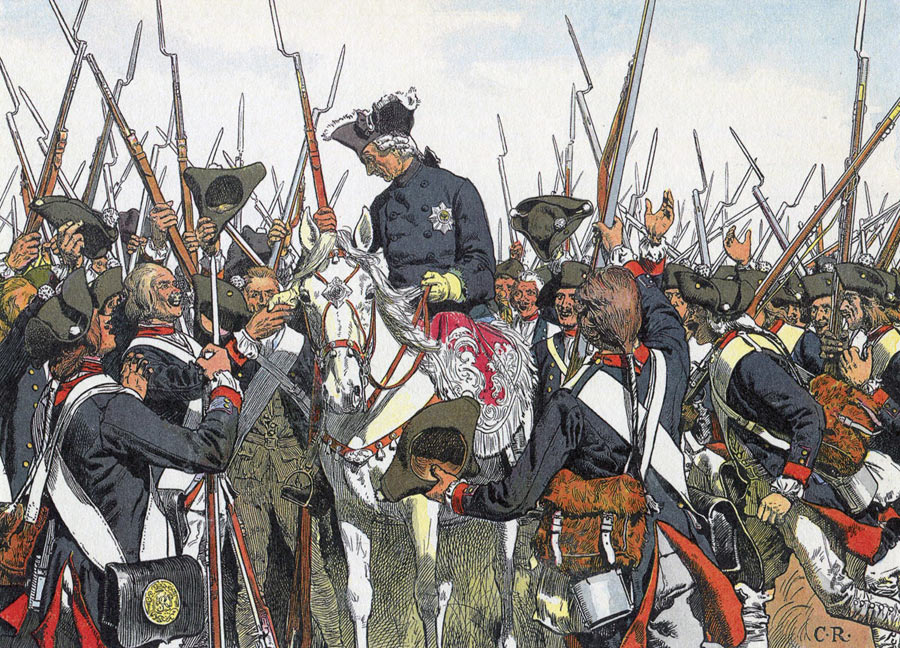 Frederick the Great agrees to return their regimental embellishments to the Bernberg Regiment after the Battle of Leignitz on 15th August 1760 in the Seven Years War: picture by Carl Röhling