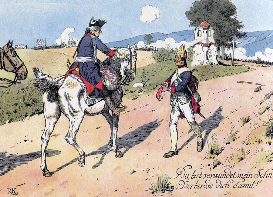 Frederick the Great greets a wounded Prussian fusilier and gives him his scarf to bind his wound during the Battle of Burkersdorf 21st July 1760 in the Seven Years War: picture by Richard Knötel