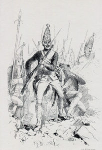 Prussian Guard Grenadiers: Battle of Hochkirch 14th October 1758 in the Seven Years War: print by Adolph Menzel