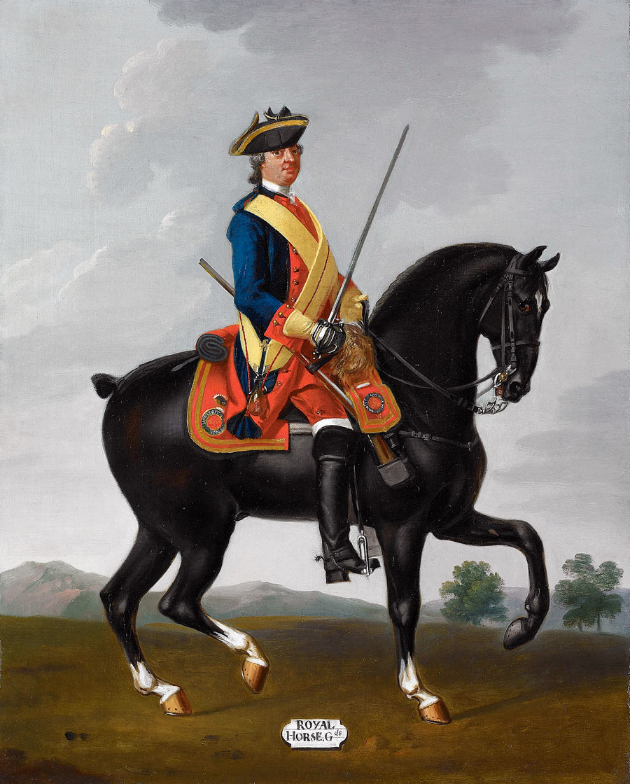 Royal Horse Guards, the 'Blues': Battle of Warburg on 31st July 1760 during the Seven Years War: picture by David Morier