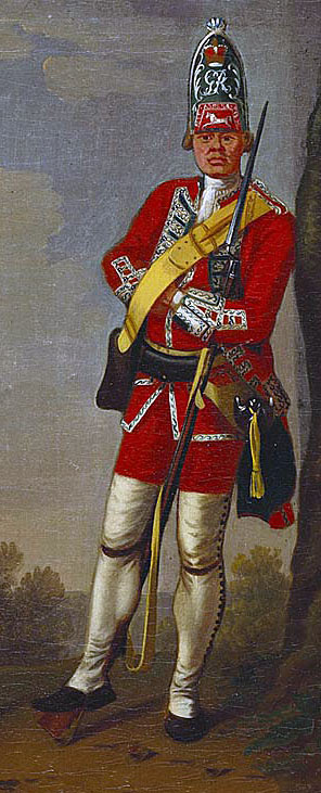 Grenadier HM 39th Foot: Battle of Plassey 23rd June 1757 in the Anglo-French Wars in India: picture by David Morier