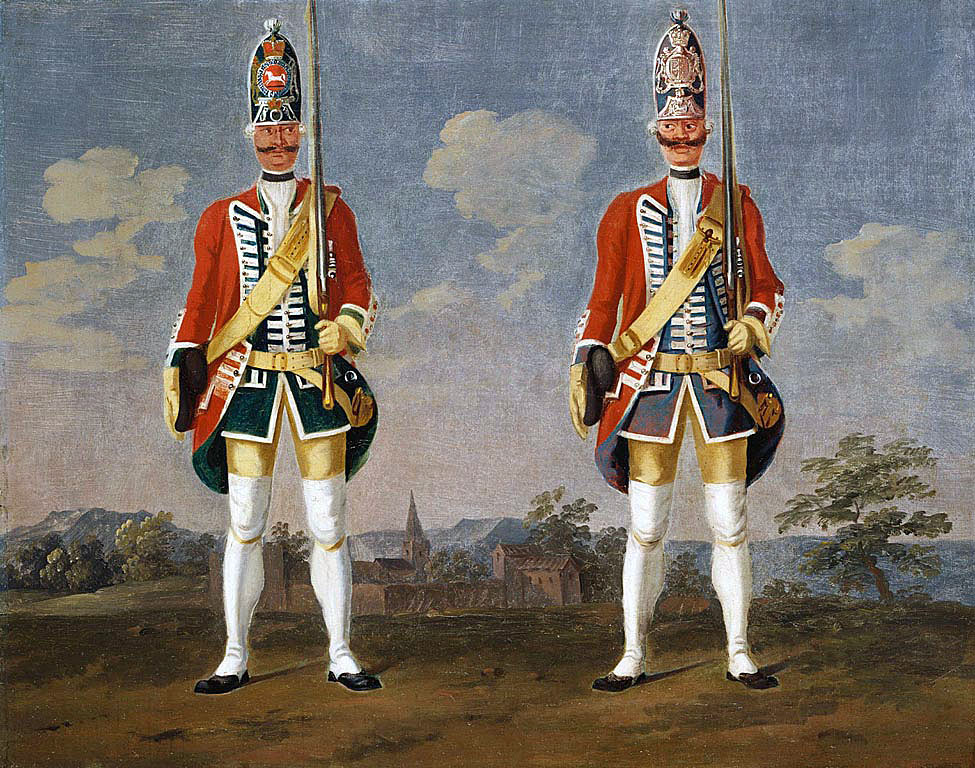 Hanoverian Regiments 'Borch' and 'Brunck': Battle of Minden 1st August 1759 in the Seven Years War: picture by David Morier
