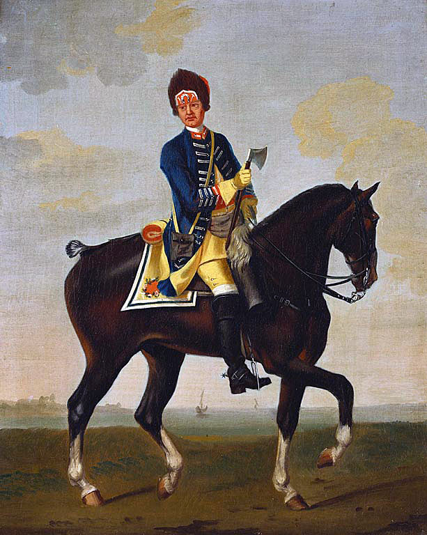 Farrier, 11th Dragoons: Battle of Warburg on 31st July 1760 during the Seven Years War: picture by David Morier