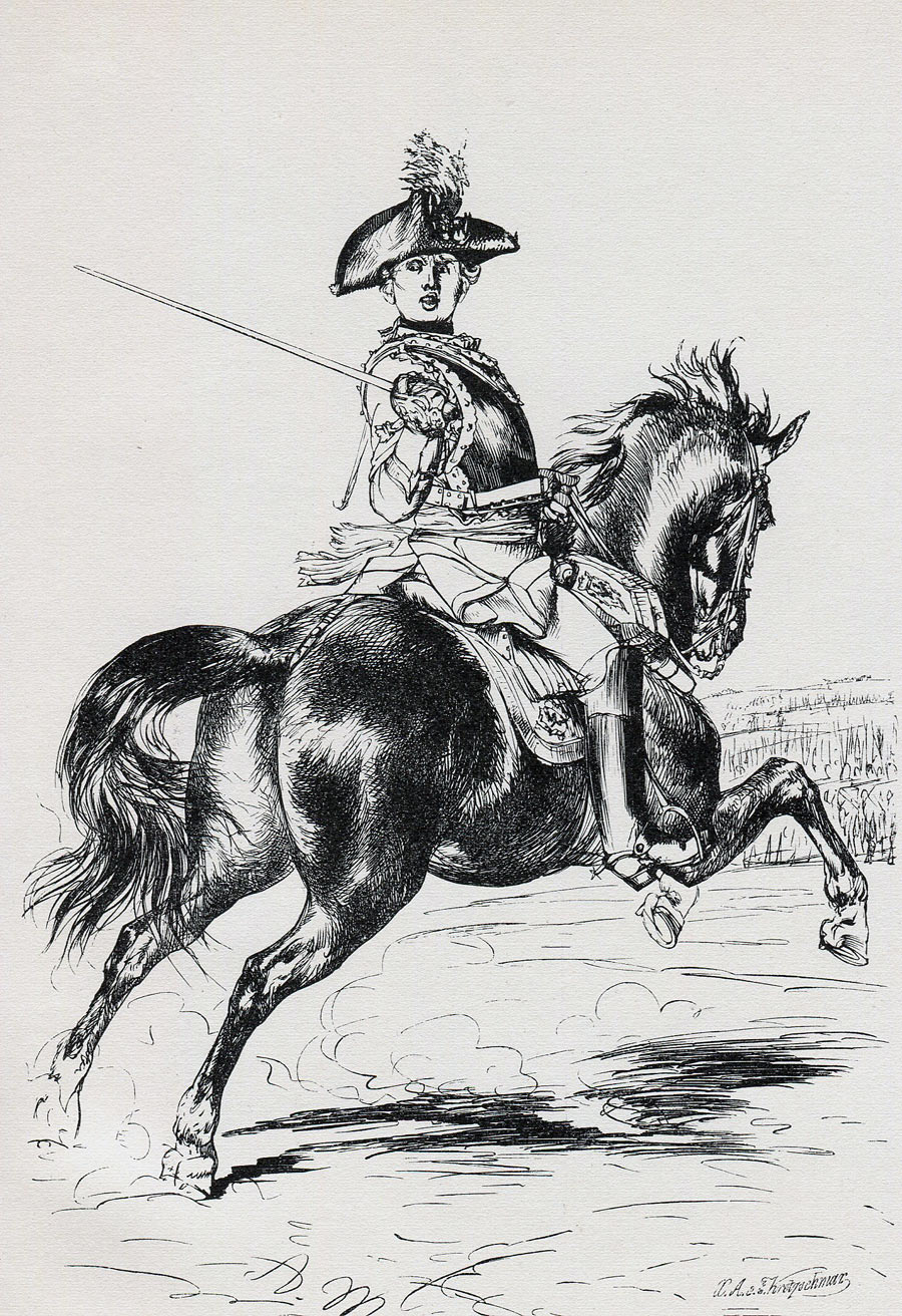 Cuirassier von Seydlitz: Battle of Zorndorf 25th August 1758 in the Seven Years War: print by Adolph Menzel