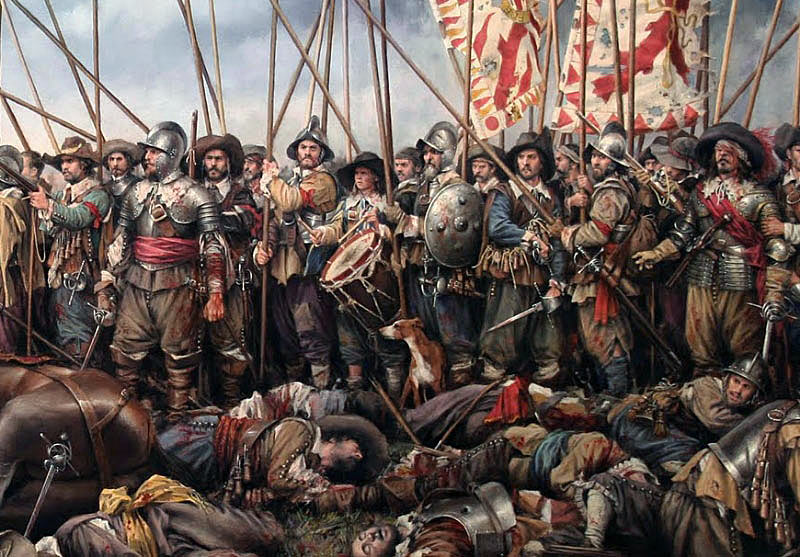 Infantry in battle of the period of the English Civil War: Battle of Lansdown Hill on 5th July 1643