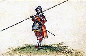 Pikeman of the English Civil War period; Battle of Lansdown Hill on 5th July 1643