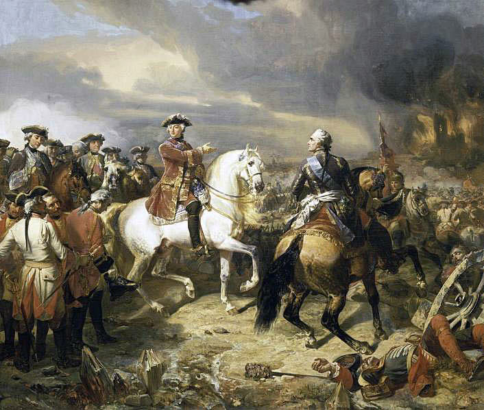 The captured General Sir John Ligonier (left on foot) is brought before Marshal Maurice de Saxe and King Louis XV of France at the end of the Battle of Lauffeldt 21st June 1747 in the War of the Austrian Succession: picture by August Couder